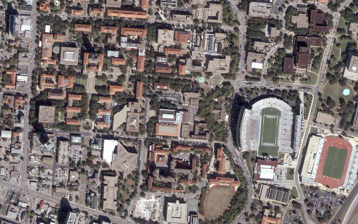 The University of Texas at Austin campus and Darrell K. Royal Stadium can be seen in this 2006 photo.
