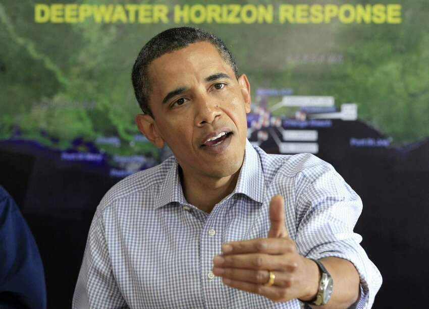 President Barack Obama makes a statement after being briefed on the BP oil spill relief efforts in the Gulf Coast region, Friday, June 4, 2010, at Louis Armstrong International New Orleans Airport in Kenner, La. (AP Photo/Charles Dharapak)