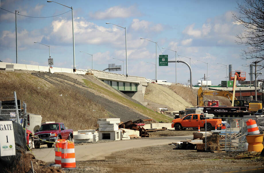 A file photo of the I-95 Moses Wheeler Bridge replacement project from last spring. The project will include a new exit and onramp, finally completing the exit 33 interchange. Photo: Brian A. Pounds / Connecticut Post