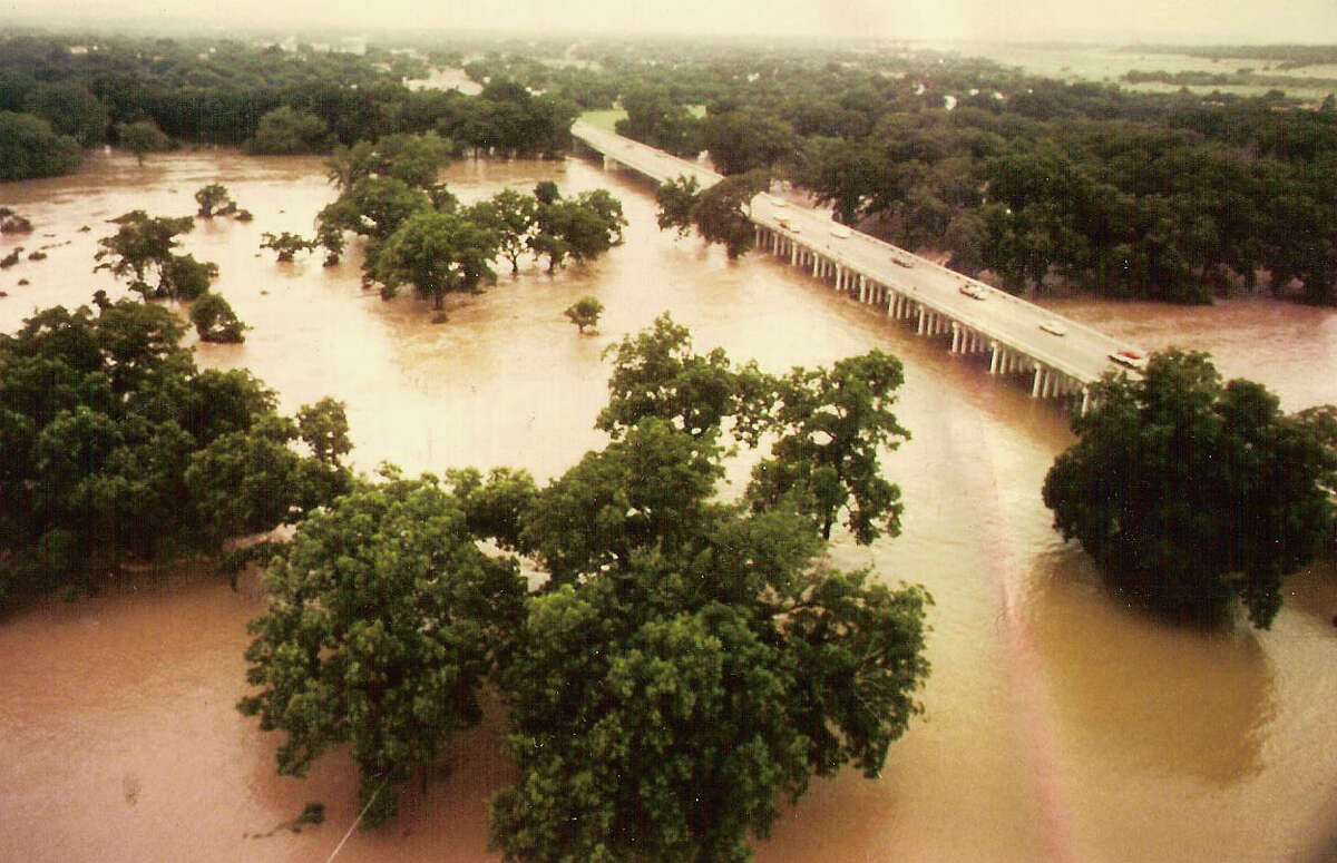 The Hill Country and South Texas received torrential rain from May to July 1987. This photo, taken on July 17, 1987 shows the Guadalupe River at 16 feet above the flood stage. The rain resulted in the worst flood of the Guadalupe River since 1932. During that summer, San Antonio received 18.45 inches of rain.
