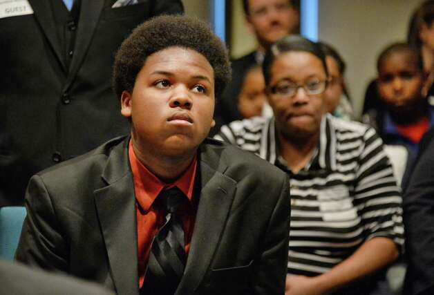 Brighter Choice Boys Middle School graduate, now an Albany High freshman, Chris Jackson waits his turn to address the State University of New York Charter Schools Committee during a meeting Friday March 6, 20125 in Albany, NY. (John Carl D'Annibale / Times Union) Photo: John Carl D'Annibale / 00030800A