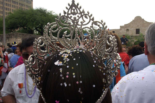 Miss Fiesta San Antonio 2007 Samantha Garcia's head is dotted with confetti at the Fiesta openning ceremonies at the Alamo on Friday April 20, 2007. Helen L. Montoya/Staff