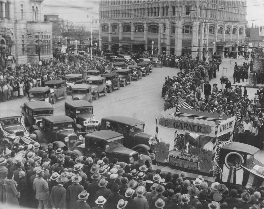San Antonio Parade for John Nance Garner for President in 1932 in Alamo Plaza. The old Medical Arts Building is in the background (where Emily Morgan Hotel is today) and the old Federal Building is on the left. He didn't win that race but secured the vice presidency at a contested convention, joining the ticket with Franklin Delano Roosevelt. Photo: /Express-News File Photo / Express-News file photo