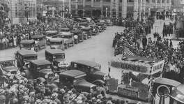 San Antonio Parade for John Nance Garner for President in 1932 in Alamo Plaza. The old Medical Arts Building is in the background (where Emily Morgan Hotel is today) and the old Federal Building is on the left. He didn't win that race but secured the vice presidency at a contested convention, joining the ticket with Franklin Delano Roosevelt.