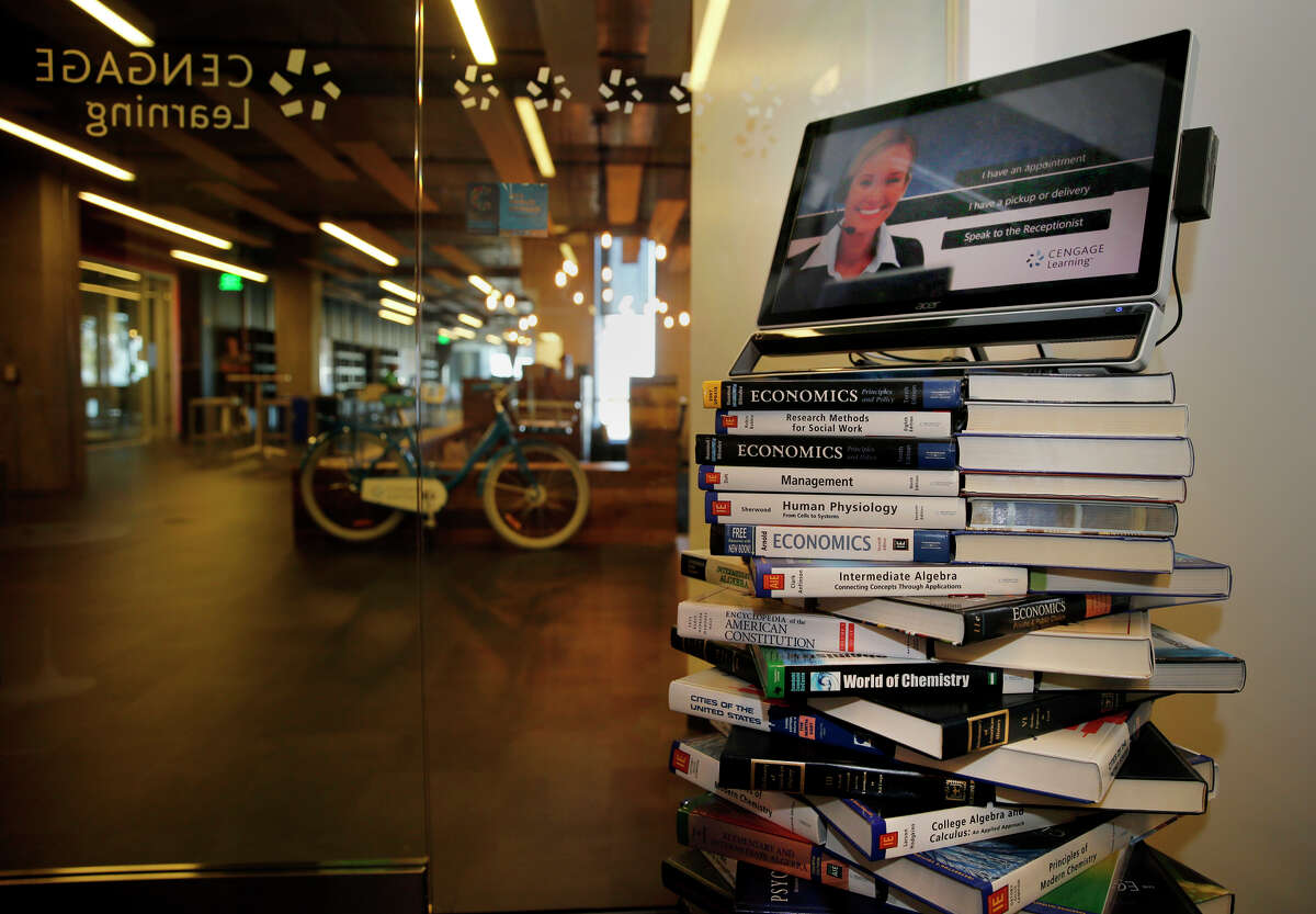 Cengage, a textbook publishing giant with offices in San Francisco, has developed MindTap, a digital learning platform. In the company's reception area, dozens of textbooks prop up a digital receptionist.
