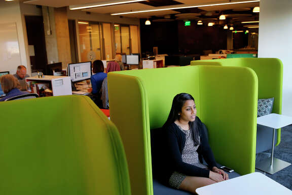 Arti Doshi, above, is director of student programs at Cengage Learning. The textbook pub lishing giant headquartered in San Francisco, top, has turned to digital learning platforms.