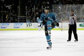 "Matt Irwin, celebrating a goal against Montreal on Monday, is not surprised the Sharks have had a little extra kick in their step lately. ""It was just a matter of time,"" he said."
