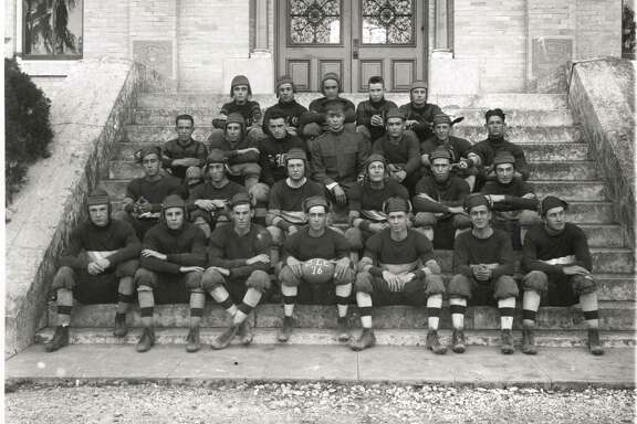 The 1916 St. Mary's College football team, coached by Dwight Eisenhower (center in military uniform).