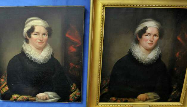 Two paintings of Betsey Foot are seen at the Albany Academy for Girls on Thursday, March 5, 2015, in Albany, N.Y.  Pam Burr Smith, from Brunswick, Maine, brought in the painting on the left, to see if the two paintings could be matched to the same artist.  Foot is the great, great, great, great grandmother to Smith.  The painting on the right is on display at the school.     (Paul Buckowski / Times Union) Photo: PAUL BUCKOWSKI / 10030889A