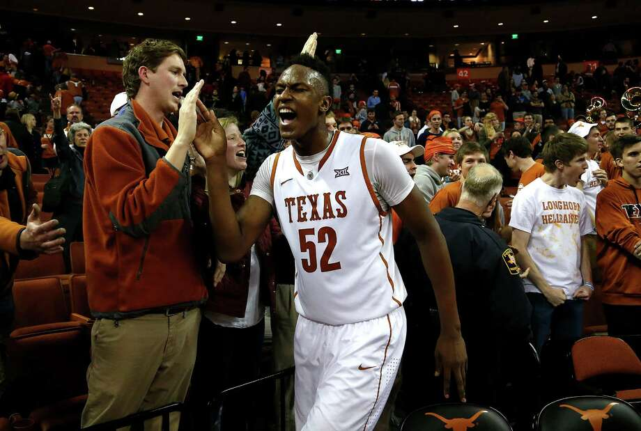 Myles Turner of the Texas Longhorns celebrates after defeating the Baylor Bears in overtime at the Erwin Center on March 2, 2015 in Austin. Photo: Chris Covatta /Getty Images / 2015 Getty Images