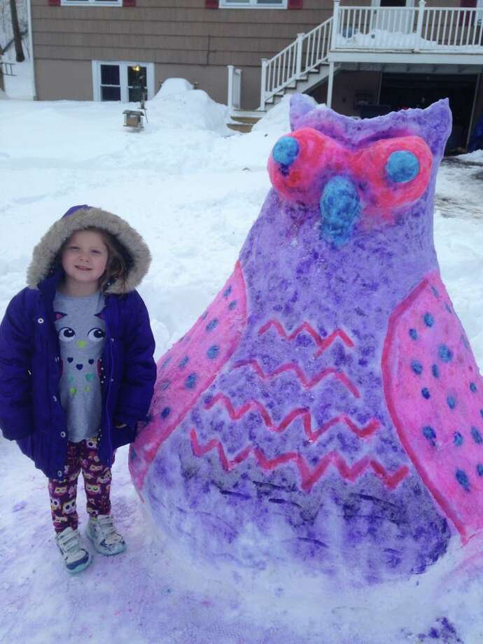Heather Perrault's daughter Shea created this amazing owl in New Milford. Photo: Heather Perrault, Contributed