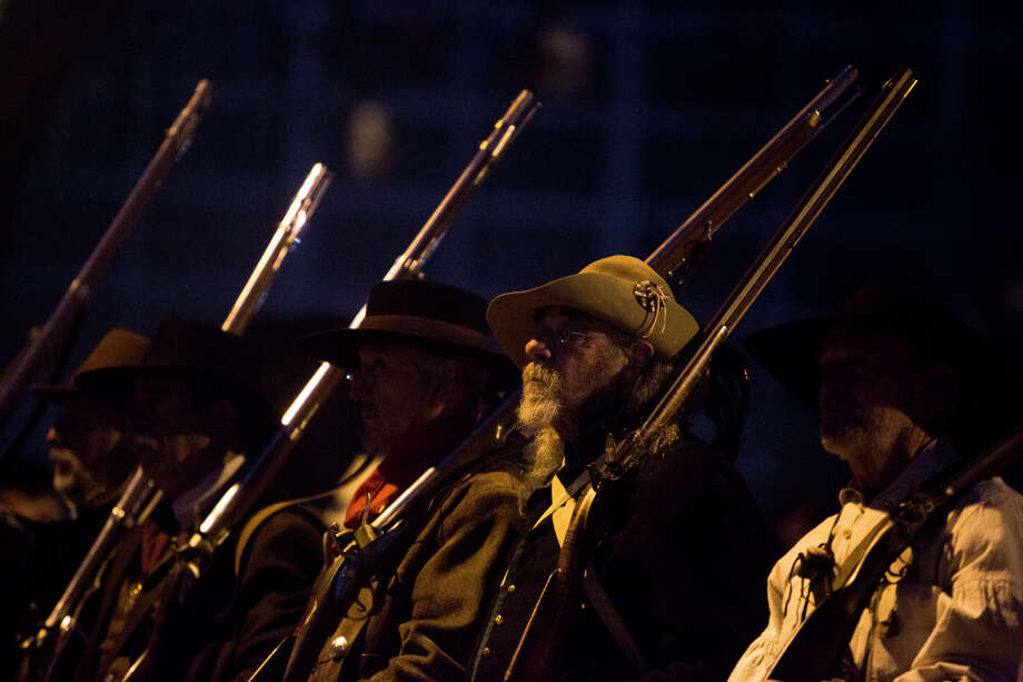 Ron Schrotter, a historical reenactor, stands at attention during the annual Dawn at the Alamo ceremony in San Antonio, TX on Friday, March 6, 2015.  This year marks the 179th anniversary of the predawn battle. Photo: Carolyn Van Houten, Staff / San Antonio Express-News / 2015 San Antonio Express-News