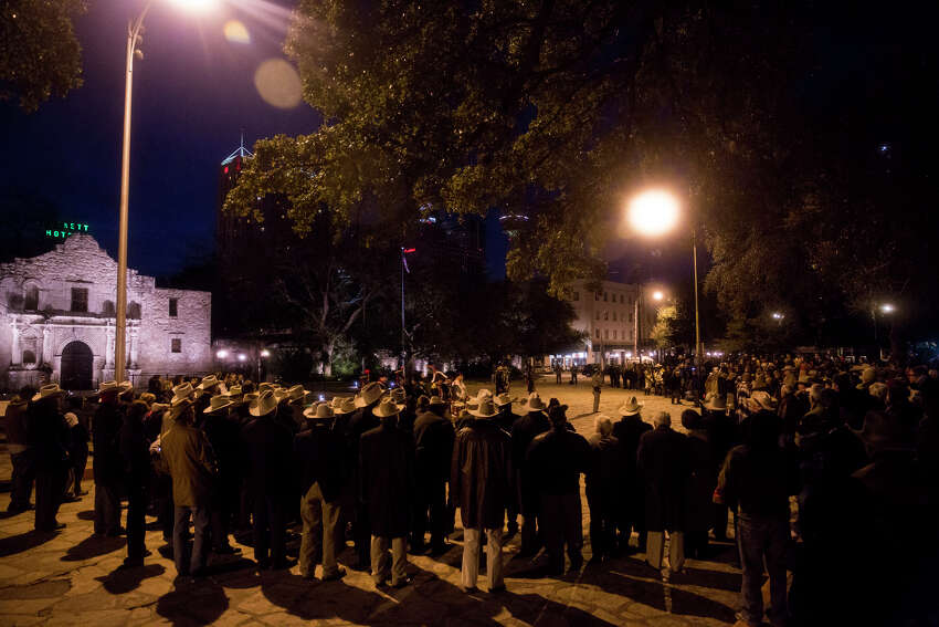 A crowd gathers in front of the Alamo during the annual Dawn at the Alamo ceremony in San Antonio, TX on Friday, March 6, 2015. This year marks the 179th anniversary of the predawn battle.