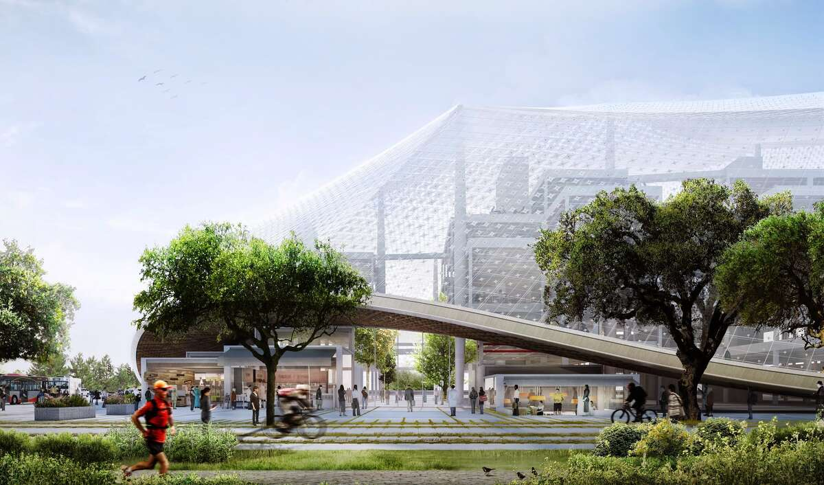 Instead of a traditional corporate campus, Google seeks to create space for 10,000 new employees in Mountain View by constructing a futuristic quartet of office buildings with stacks of prefabricated workspaces set within translucent canopies of fabric and glass. The proposed quartet would replace existing structures and parking lots in Mountain View north of Highway 101.