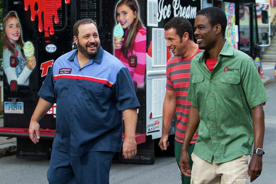 """This film publicity image released by Columbia Pictures shows, from left, Kevin James, Adam Sandler and Chris Rock in a scene from """"Grown Ups 2."""" (AP Photo/Sony - Columbia Pictures, Tracy Bennett) Photo: Tracy Bennett, HOEP / Associated Press / Sony - Columbia Pictures"""