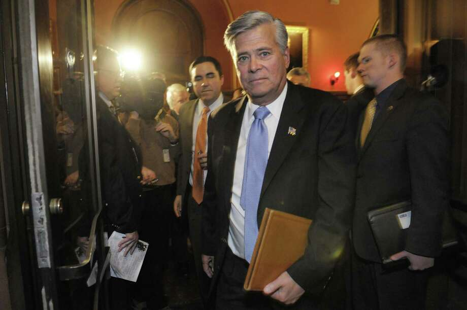 Senate Majority Leader Dean Skelos, makes his way out of Governor Andrew Guomo's office at the Capitol following a leaders meeting on Thursday, March 24, 2011.  (Paul Buckowski / Times Union archive) Photo: Paul Buckowski