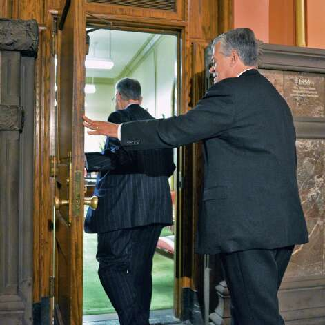 Leaders enter Gov. Cuomo's office for a 2013 meeting at the Capitol in Albany, N.Y. (John Carl D'Annibale / Times Union archive) Photo: John Carl D'Annibale / 10022869A