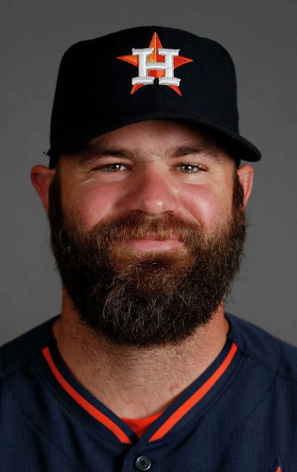 Houston Astros catcher/outfielder Evan Gattis photographed during Houston Astros spring training at the Osceola County facility, Thursday, Feb. 26, 2015, in Kissimmee. ( Karen Warren / Houston Chronicle  ) Photo: Karen Warren, Staff / © 2015 Houston Chronicle