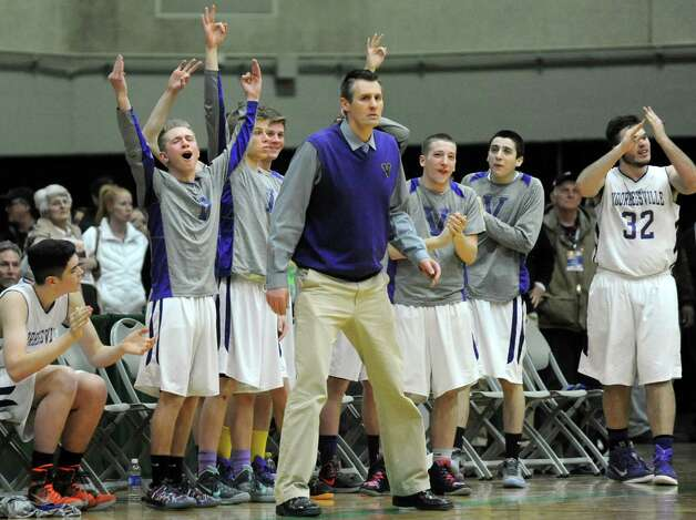 Voorheesville's bench cheers for their team during their Class B boys basketball semifinals against Schalmont on Friday, March 6, 2015, at Hudson Valley Community College in Troy, N.Y. (Cindy Schultz / Times Union) Photo: Cindy Schultz / 10030880A