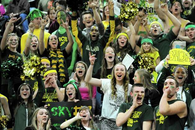 Ravena's student section cheers for their team during their Class B boys basketball semifinals against Hoosick Falls on Friday, March 6, 2015, at Hudson Valley Community College in Troy, N.Y. (Cindy Schultz / Times Union) Photo: Cindy Schultz / 10030880A