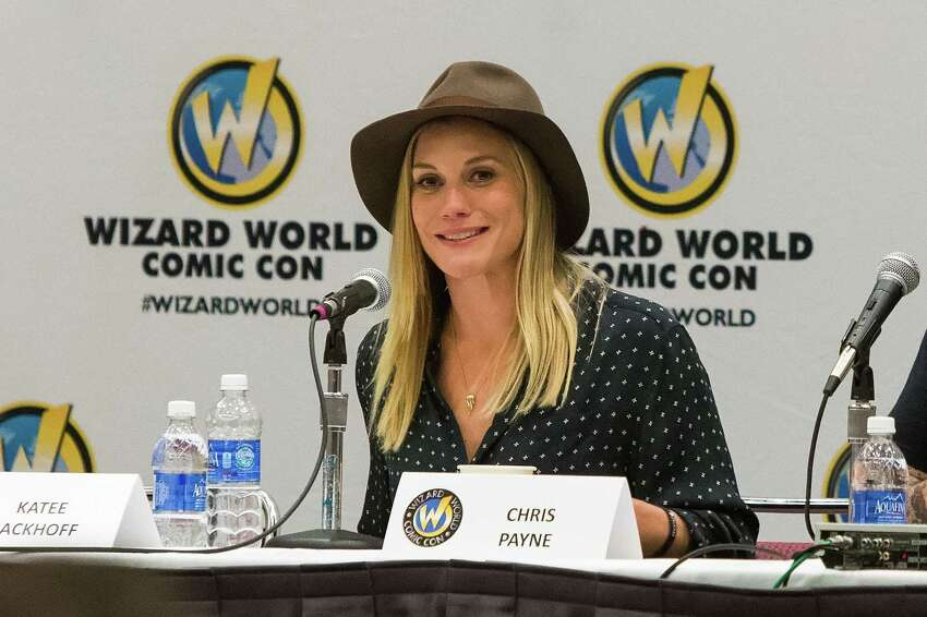 Now: Katee Sackhoff speaks at Wizard World Comicon at Oregon Convention Center on January 24, 2015 in Portland.