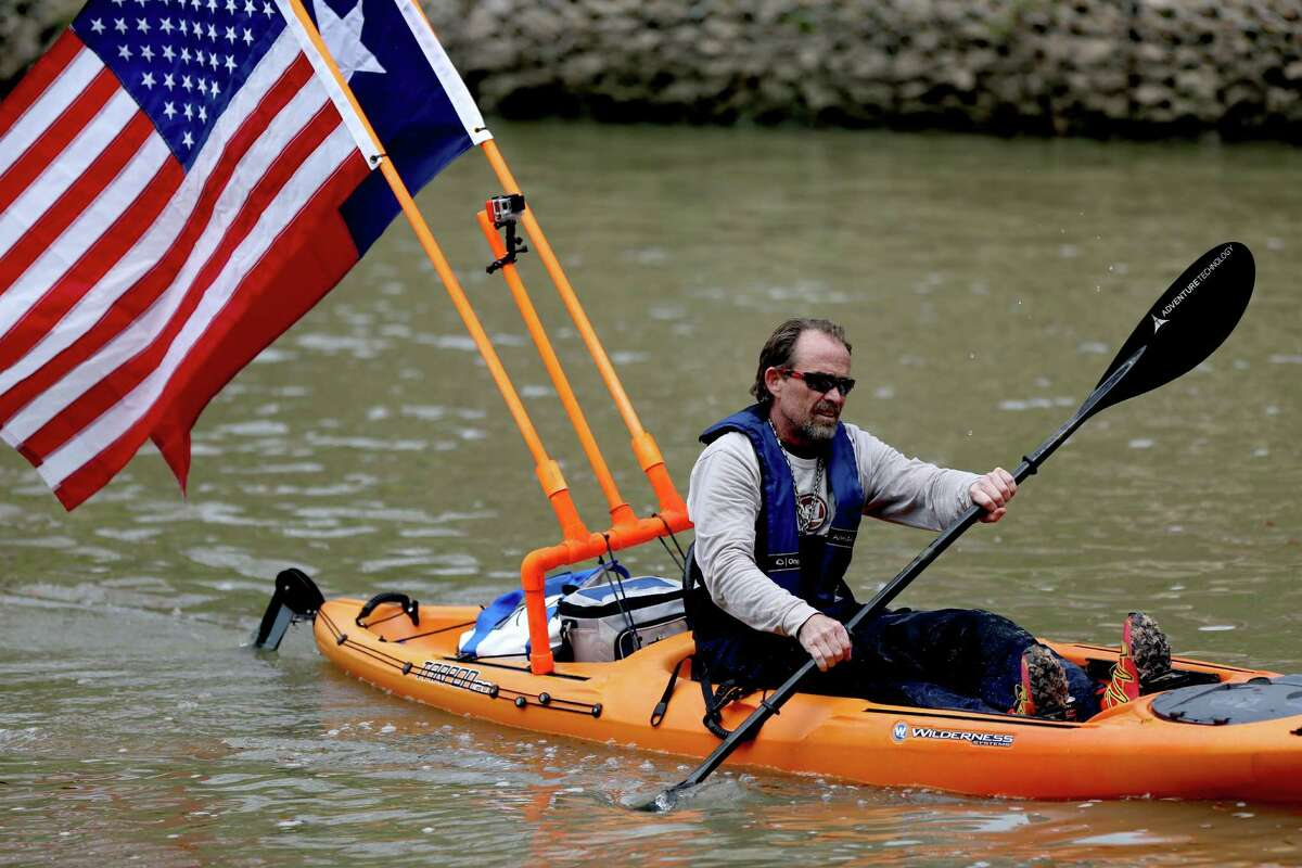 Paddler Kevin Cook in the 43rd Annual Buffalo Bayou Regatta, a 15-mile American Canoe Association (ACA) sanctioned race, along the scenic Buffalo Bayou Saturday, March 7, 2015, in Houston, Texas.