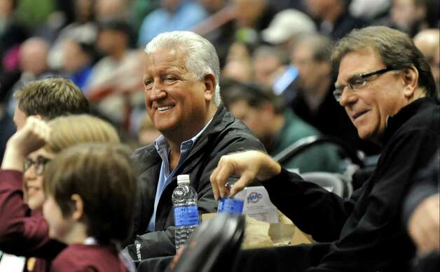 Former Mayor Jerry Jennings, center, attends the quarterfinal game between Siena and Iona in the MAAC Championship on Saturday, March 7, 2015, at Times Union Center in Albany, N.Y. (Cindy Schultz / Times Union) Photo: Cindy Schultz / 00030912A