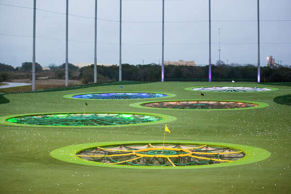 A shot of some of the playing targerts at TopGolf at The Rim shopping center in February 2015. TopGolf is being billed as a new type of golf entertainment for all demographics.