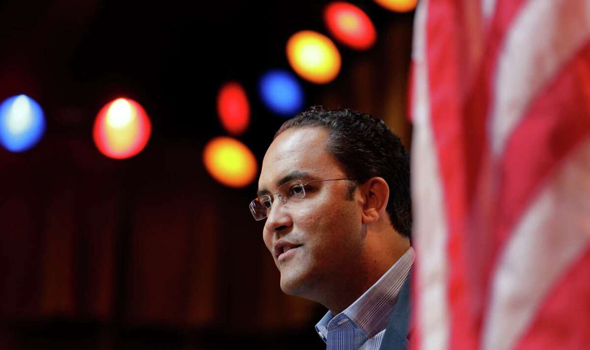 Rep. Will Hurd, R-Texas, speaks to the South San Antonio Chamber of Commerce, Wednesday, Feb. 18, 2015, in San Antonio. As the first black Republican House member from Texas since Reconstruction, the national GOP is grooming the 37-year-old for political stardom.(AP Photo/Eric Gay)