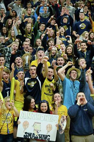 Averill Park fans cheer on their team during their Class A girls' basketball final against  Troy High Saturday March 7, 2015 at Hudson Valley Community College in Troy, NY.   (John Carl D'Annibale / Times Union) Photo: John Carl D'Annibale / 10030882A