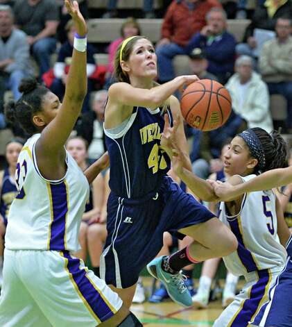 Averill Park's #42 Rachel Apfel muscles her way to the net during their Class A girls' basketball final against Troy High Saturday March 7, 2015 at Hudson Valley Community College in Troy, NY.   (John Carl D'Annibale / Times Union) Photo: John Carl D'Annibale / 10030882A