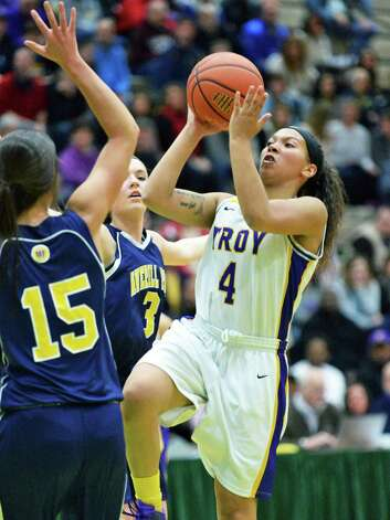 Troy's #4 Kiana Patterson takes a shot during the Class A girls' basketball final against Averill Park Saturday March 7, 2015 at Hudson Valley Community College in Troy, NY.   (John Carl D'Annibale / Times Union) Photo: John Carl D'Annibale / 10030882A