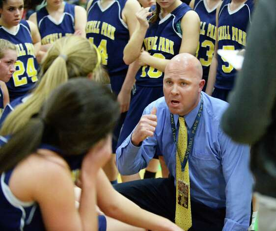 Averill Park head coach Sean Organ with players during a time out in their Class A girls' basketball final against Troy High Saturday March 7, 2015 at Hudson Valley Community College in Troy, NY.   (John Carl D'Annibale / Times Union) Photo: John Carl D'Annibale / 10030882A