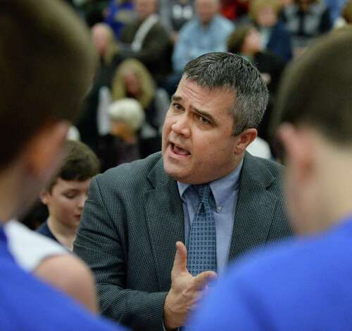 Hoosick Falls head coach Mike Lilac with players during their Class B boys' basketball final against Shalmont at Colonie High School Saturday March 7, 2015 in Colonie, NY.  (John Carl D'Annibale / Times Union) Photo: John Carl D'Annibale / 00030907A