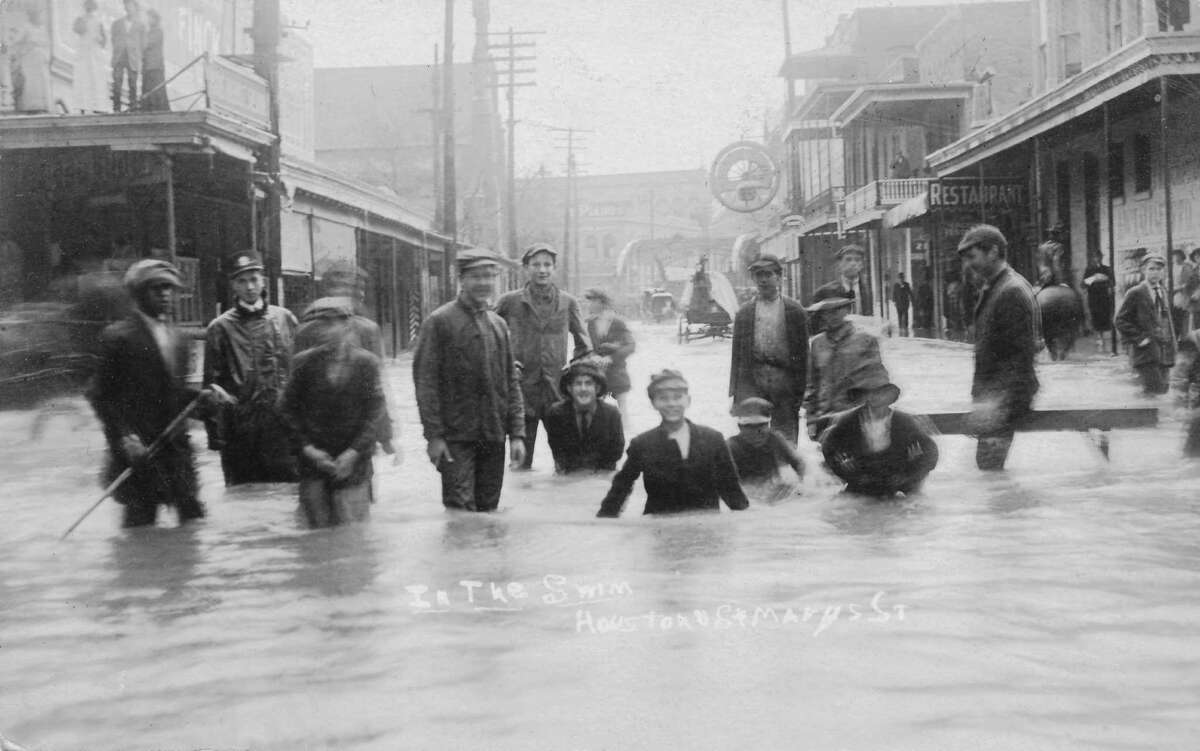 During a classic El Nino year in 1913, heavy rains drenched Texas. In this photo, taken during the December 1913 floods, kids wade in feet-high water on St. Mary's Street at Houston Streets. The last tens days in November 1913 saw heavy rains that laid the foundation for flooding during the first five days of December. Rainfall totals measured 20 to 25 inches, causing 180 drownings.