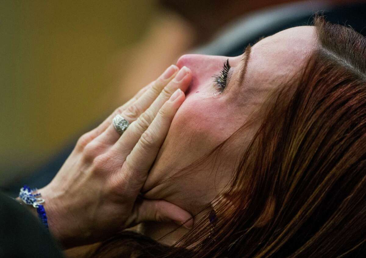 Tanisha Sorenson, sister of murder victim Travis Alexander, sobs as she hears the jury verdict in the Jodi Arias sentencing phase retrial, Thursday, March 5, 2015, in Maricopa County Superior Court in Phoenix. Arias was spared the death penalty on Thursday after a jury for a second time could not decide on her punishment.