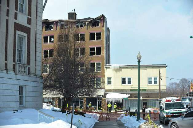 A view of the apartment buildings on Jay St. that were damaged by fire, seen here on Sunday, March 8, 2015, in Schenectady, N.Y.    (Paul Buckowski / Times Union) Photo: PAUL BUCKOWSKI / 00030931A