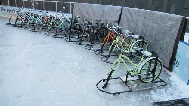 Bikes Blades And Boards Buffalo Ny A line of ice bikes await