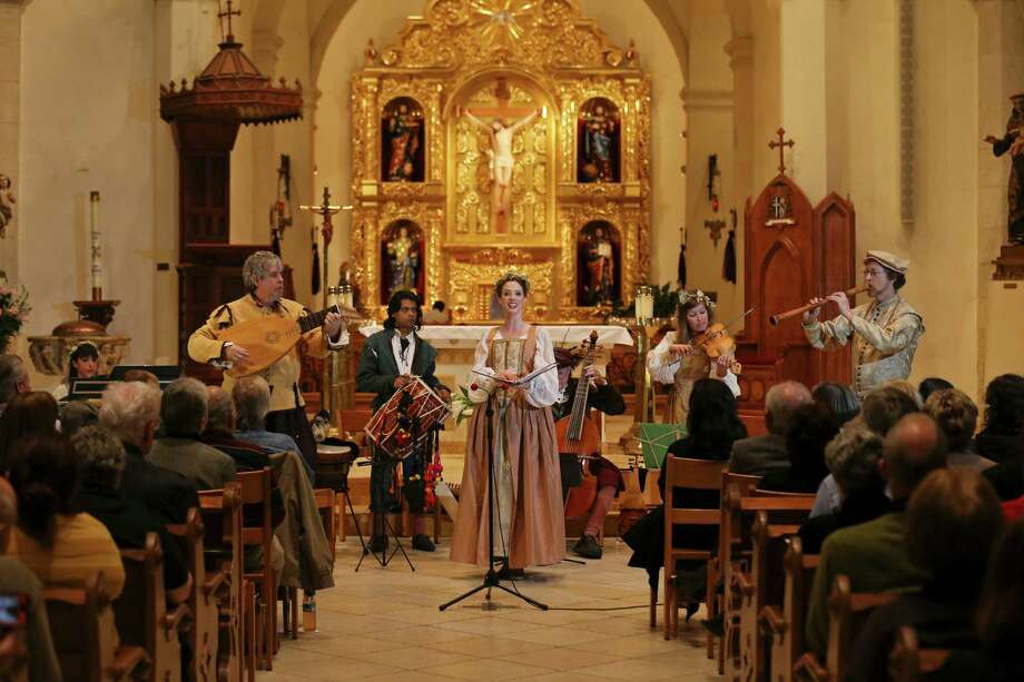 """Members of the Austin Troubadours, dressed in period costumes, Neli Vujisic (from left), Slobodan Vujisic, Oliver Rajamani, Meredith Ruduski, John Walters, Stephanie Raby, and Victor Eijkhout perform during Musical Bridges Around the World's musical evenings at San Fernando Cathedral, which are free and open to the public, """"Pastime with Good Company"""" Sunday March 8, 2015 at San Fernando Cathedral. The next concert """"Turks, Tailors & Uncle Moses!"""" is April 12, 2015 at 6:30pm. For more info visit www.musicalbridges.org Photo: Edward A. Ornelas, Staff / San Antonio Express-News / © 2015 San Antonio Express-News"""