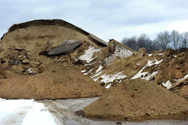 A sand pile to use on roads on Wednesday, March 4, 2015, at Saratoga County Dept. of Public Works in Ballston Spa, N.Y. (Cindy Schultz / Times Union) Photo: Cindy Schultz / 10030845A