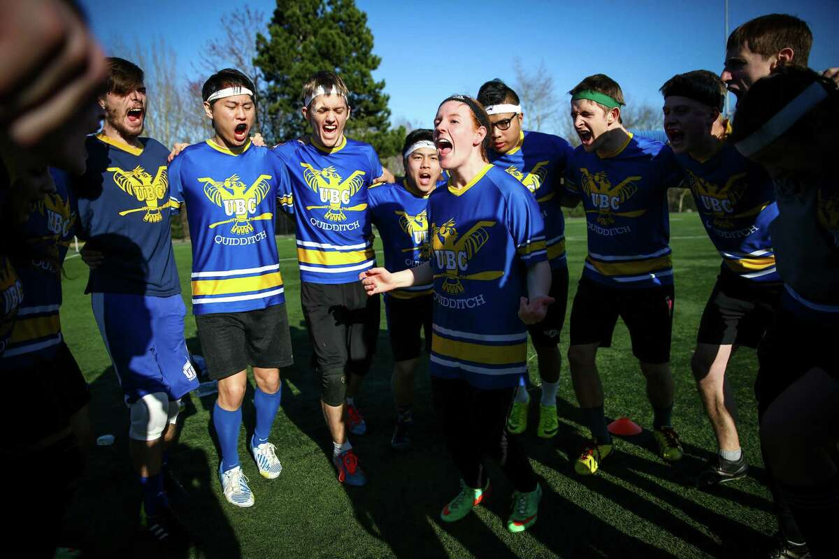 Members of the University of British Columbia team rally before a match during the U.S. Quidditch Northwest Championship, a qualifier for the U.S. Quidditch World Cup. Seven regional teams competed at Starfire Sports Complex in Tukwila on Saturday, March 7, 2015.