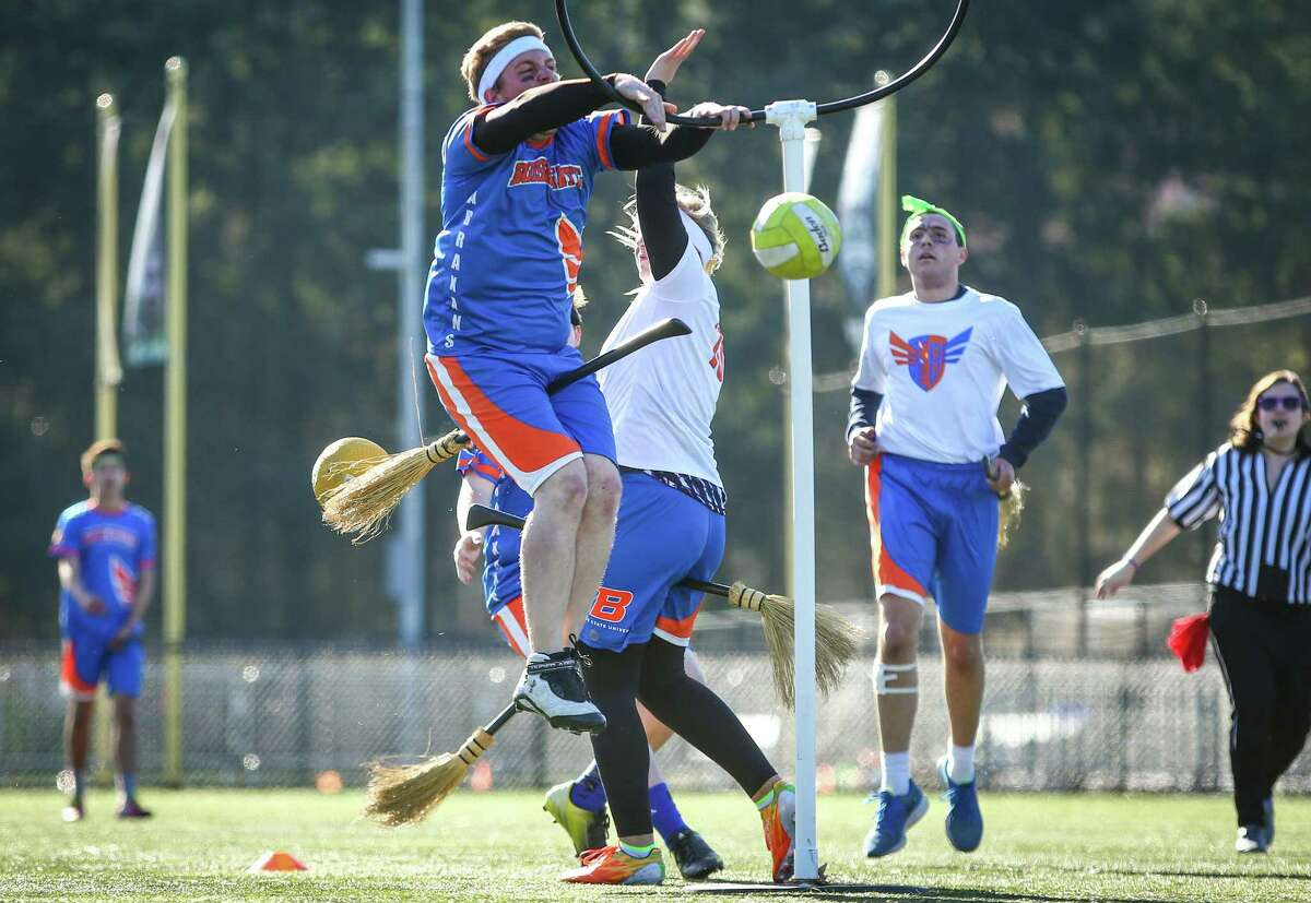 A player from the Boise State Abraxans gets the ball into a hoop for ten points during the U.S. Quidditch Northwest Championship, a qualifier for the U.S. Quidditch World Cup. Seven regional teams competed at Starfire Sports Complex in Tukwila on Saturday, March 7, 2015.