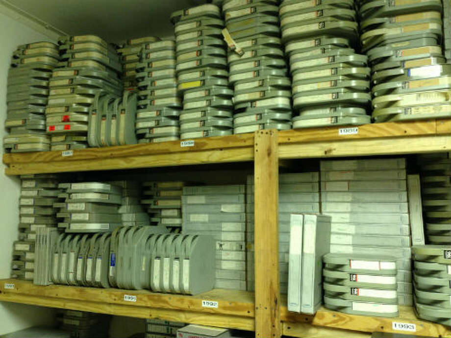 These two-inch tapes are just a portion of the rodeo footage that RodeoHouston has in its locked-down tape vaults. Photo: Craig Hlavaty