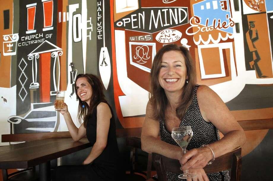 GFF magazine founders Maren Caruso (left) and Erika Lenkert (right)  at Nopa in San Francisco, California on Tuesday, February 24, 2015. Photo: Liz Hafalia, The Chronicle
