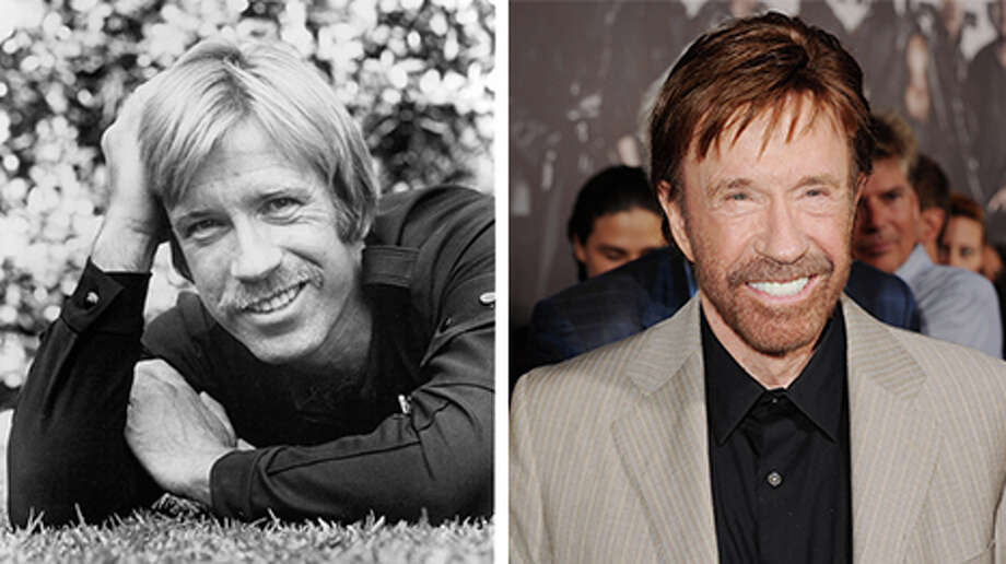 Chuck Norris, pictured here in 1976 and 2012, celebrates his 75th birthday on March 10.Keep clicking to take a look at the other celebs in Hollywood that are growing older very, very gracefully. Photo: Getty Images