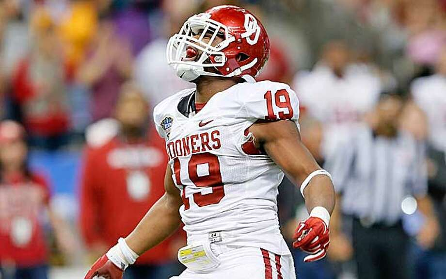 Oklahoma linebacker Eric Striker made his displeasure with a now-former on-campus fraternity quite clear Monday. (Houston Chronicle file)