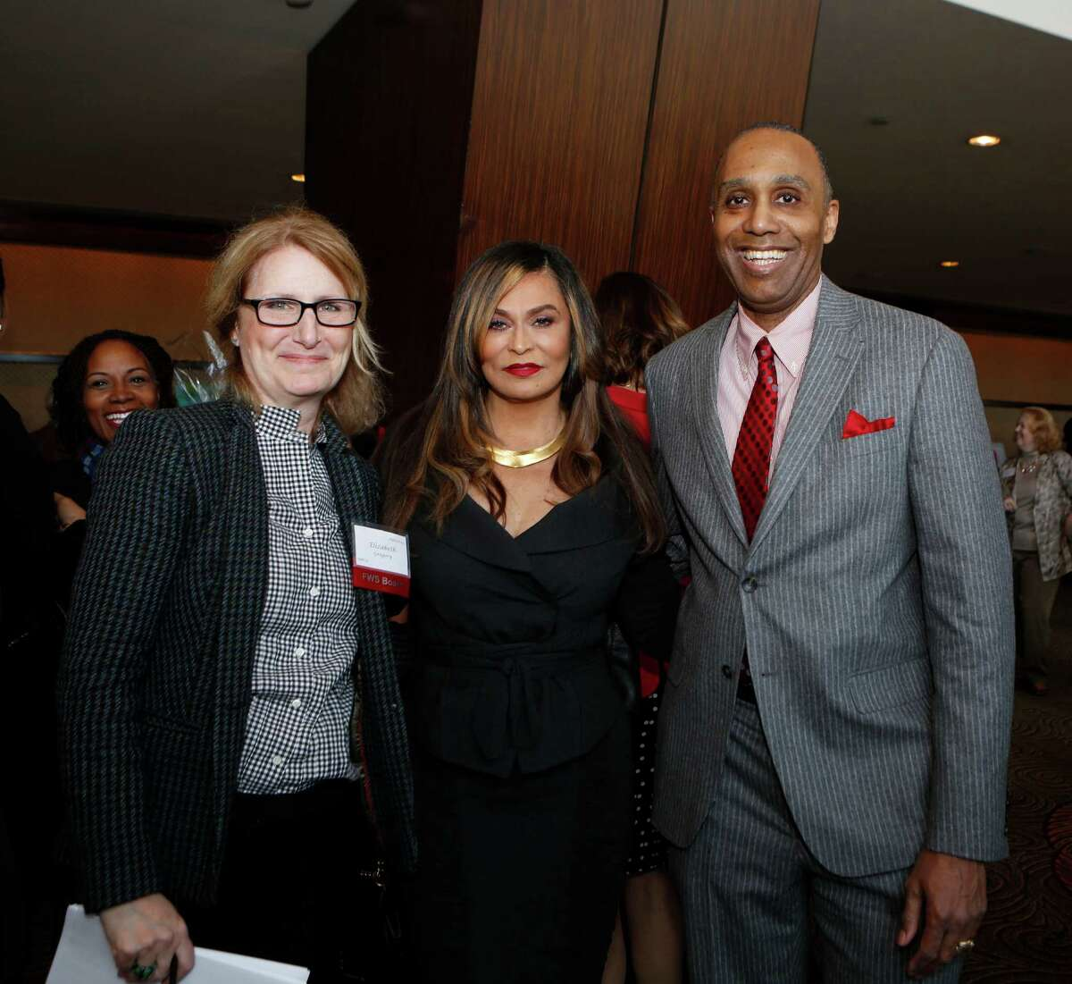 Elizabeth Gregory, left, Tina Knowles and Leonard Baynes