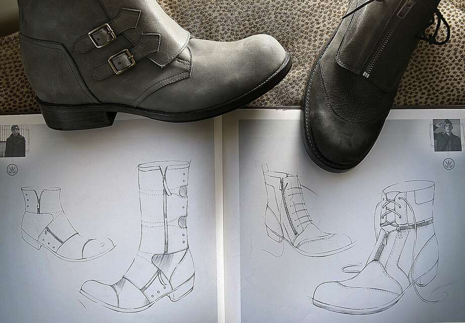 Some of Frank Beneduci's shoe designs. Photo: Liz Hafalia, The Chronicle