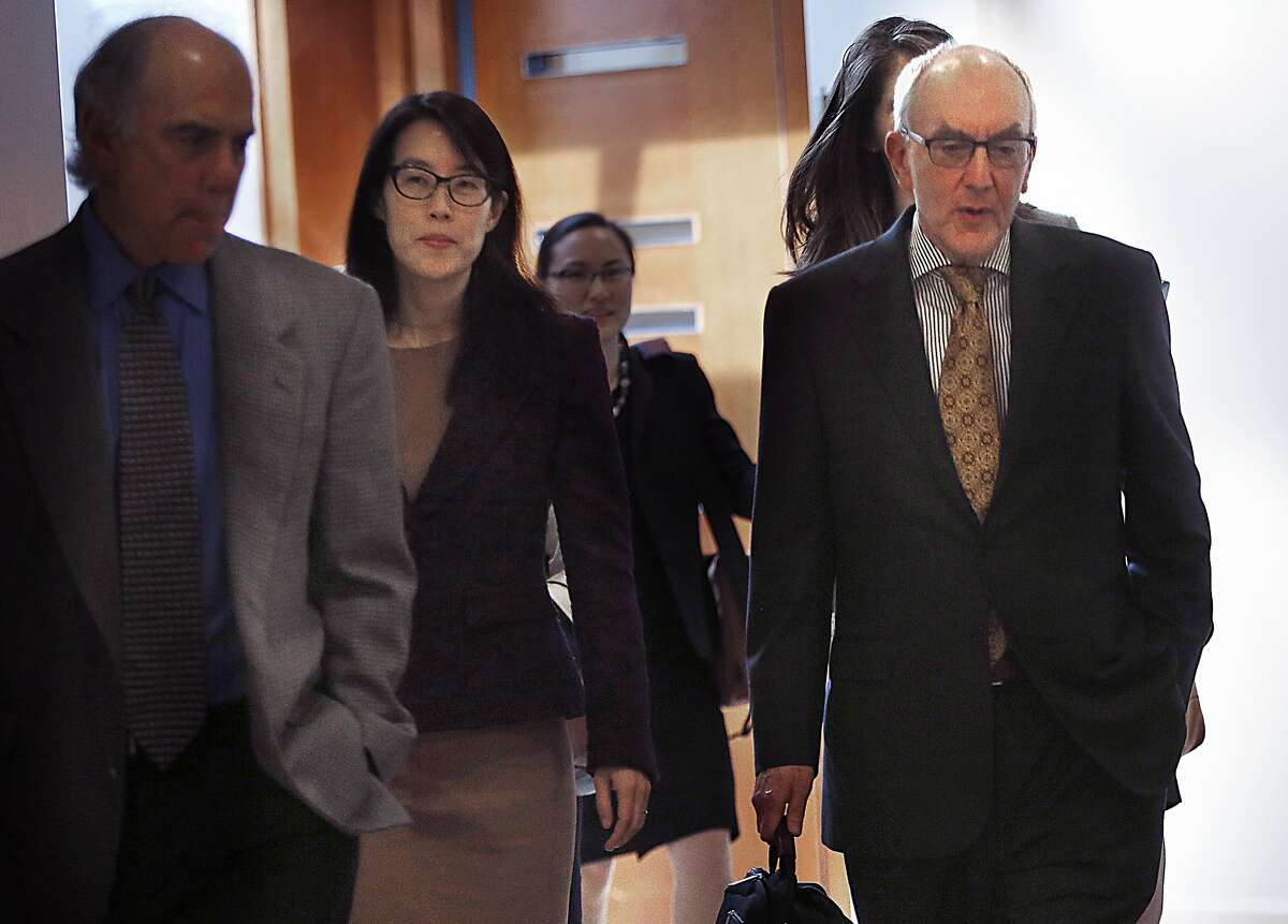 Ellen Pao (left) with main attorney Alan Exelrod (right) break for lunch after Pao testifies in her suit against Kleiner Perkins in San Francisco, California on Monday, March 9, 2015.