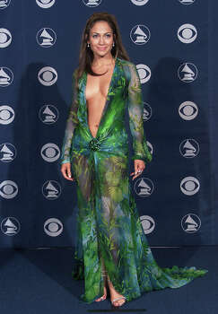 Jennifer Lopez caused a stir in her revealing green print Versace dress at the 42nd Grammy Awards in Los Angeles, Feb. 23, 2000. Photo: Scott Gries / Getty Images / Hulton Archive